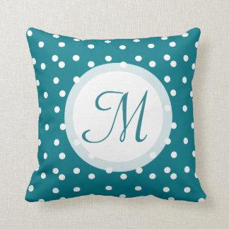 Trendy Confetti Dots Monogrammed Bluish Green Throw Pillow