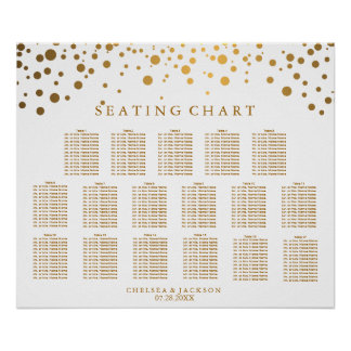 Trendy Confetti Gold Dots - Seating Chart Poster