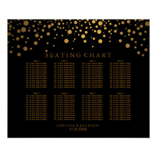 Trendy Confetti Golden Dots on Black Seating Chart