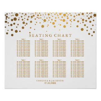 Trendy Confetti Golden Dots - Seating Chart Poster