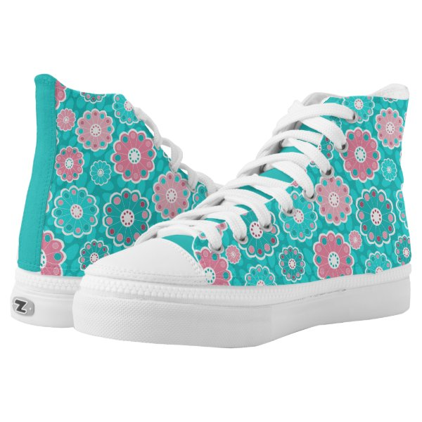Trendy contemporary pink and aqua floral High-Top sneakers