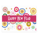 Trendy Cool Colorful Funky Circles Postcard