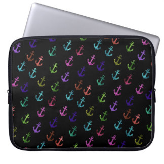 Trendy, cool, fashion, girly glittering anchor computer sleeve