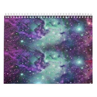Trendy Cool Sparkly New Nebula Design Wall Calendar