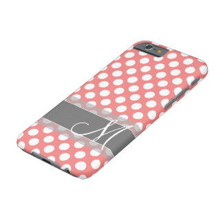 Trendy Coral and Gray Polka Dot Pattern Monogram Barely There iPhone 6 Case