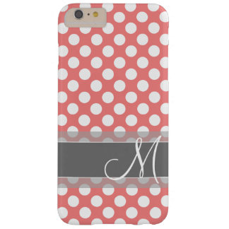 Trendy Coral and Gray Polka Dot Pattern Monogram Barely There iPhone 6 Plus Case