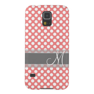 Trendy Coral and Gray Polka Dot Pattern Monogram Cases For Galaxy S5