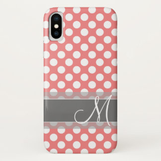 Trendy Coral and Gray Polka Dot Pattern Monogram iPhone X Case