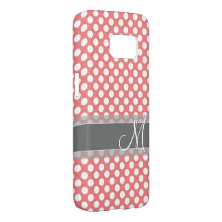 Trendy Coral and Gray Polka Dot Pattern Monogram Samsung Galaxy S7 Case