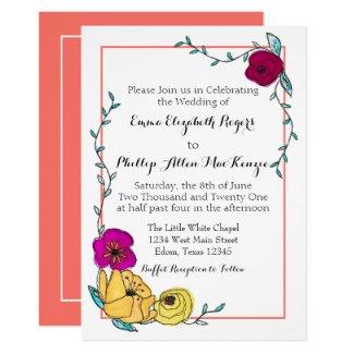 Trendy Coral Magenta Poppy Yellow Floral Modern Invitation