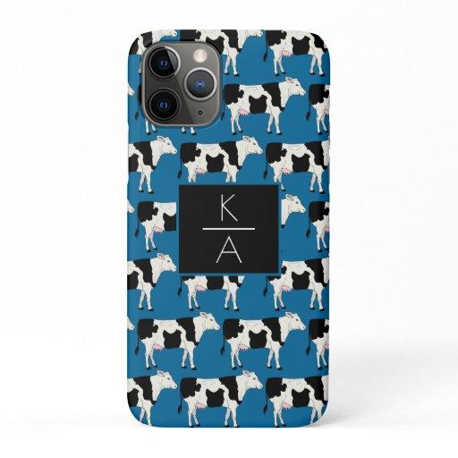 Trendy Cow Editable Monogram Blue Iphone case