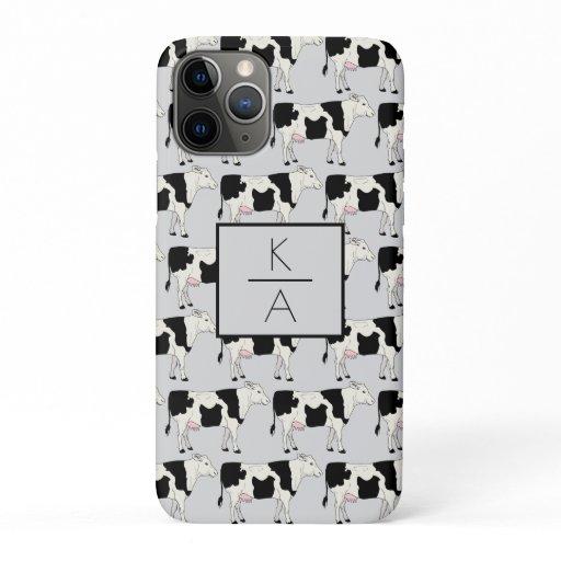 Trendy Cow Editable Monogram Gray Iphone case