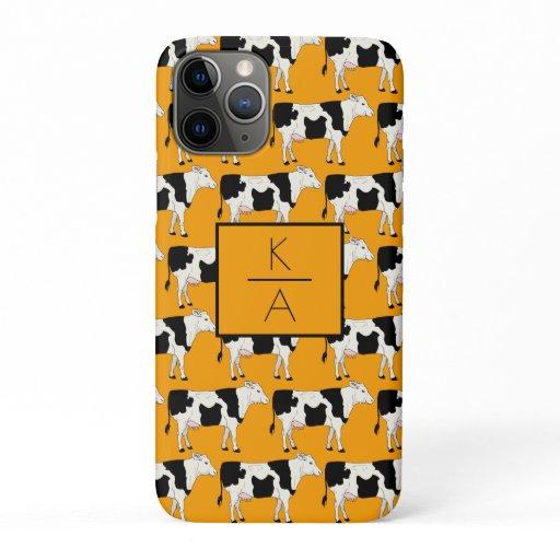 Trendy Cow Editable Monogram Orange Iphone case