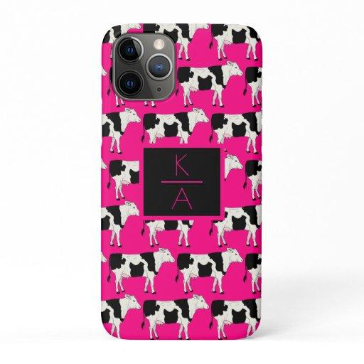 Trendy Cow Editable Monogram Pink Iphone case