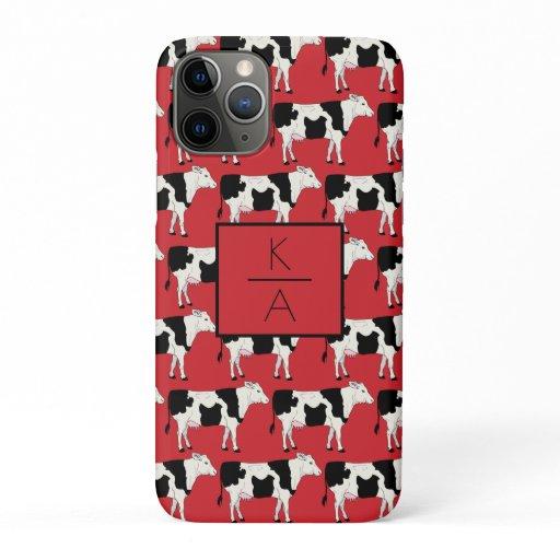 Trendy Cow Editable Monogram Red Iphone case