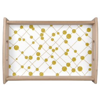 Trendy crossed rows of gold foil beads pattern serving tray