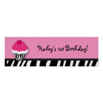 Trendy Cupcake Birthday Banner Sign Poster