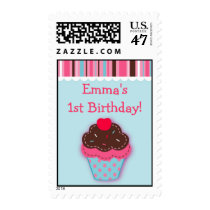 Trendy Cupcake Cherry Birthday Postage Stamps