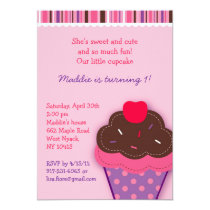 Trendy Cupcake Cherry Girls Birthday Invitation