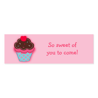 Trendy Cupcake Cherry Party Favor Gift Tags Mini Business Card