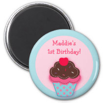 Trendy Cupcake Cherry Party Favor Magnets