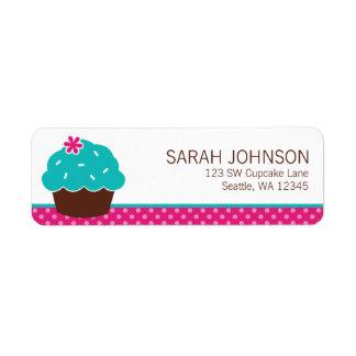 Trendy Cupcake Pink Polka Dot Label