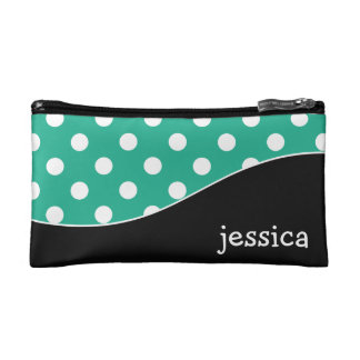 Trendy Curves and Polka Dots Personalized Cosmetics Bags