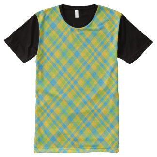 Trendy Custom Bright Green, Blue and Yellow Plaid All-Over-Print Shirt