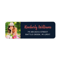 Trendy Custom Photo Graduation Return Address Label