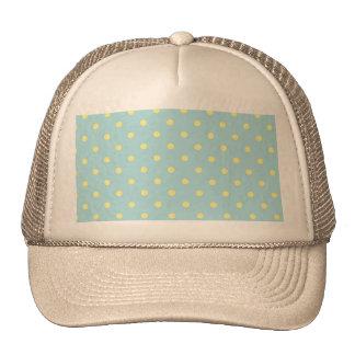 Trendy Cute  Aqua Yellow Polka Dots Pattern Mesh Hats