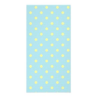 Trendy Cute  Aqua Yellow Polka Dots Pattern Customized Photo Card