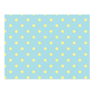 Trendy Cute  Aqua Yellow Polka Dots Pattern Postcard