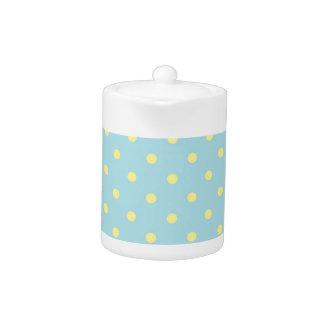 Trendy Cute  Aqua Yellow Polka Dots Pattern