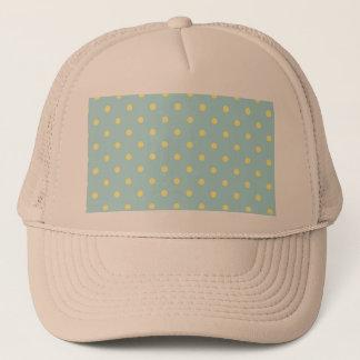 Trendy Cute  Aqua Yellow Polka Dots Pattern Trucker Hat