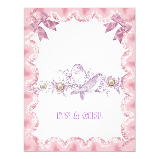 trendy cute birds floral its a girl baby shower personalized invite