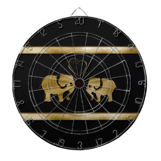 Trendy cute black /golden elephant in love dartboard with darts