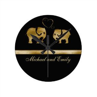 Trendy cute black /golden elephant in love round clock