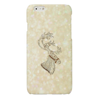 Trendy cute Christmas reindeer winter glittery Glossy iPhone 6 Case
