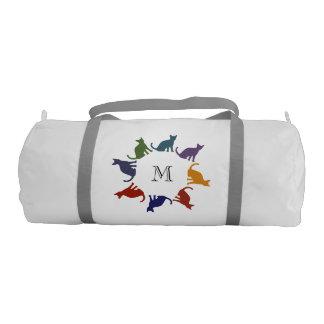 Trendy cute colorful silhouette cats monogram gym bag