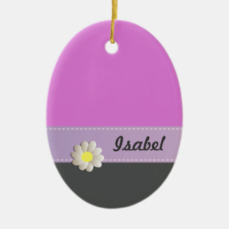 Trendy cute daisy pink gray ceramic ornament