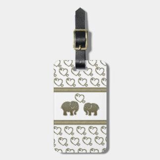 Trendy cute  elegant hearts elephants in love bag tag