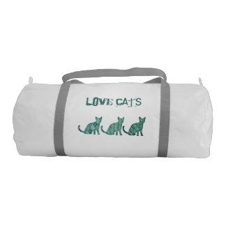 Trendy cute fun abstarct love cats duffle bag