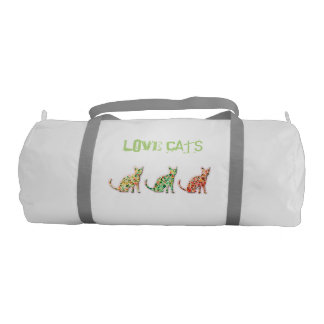 Trendy cute fun abstarct love cats gym bag