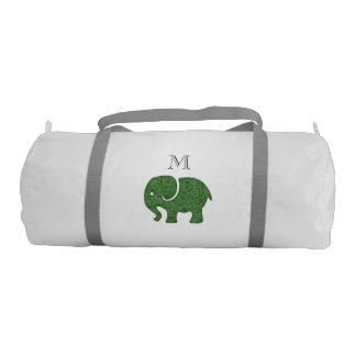 Trendy cute fun abstract elephant monogram gym duffel bag