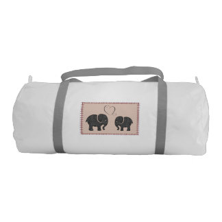 Trendy cute fun abstract elephants in love gym duffel bag