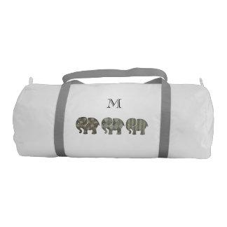 Trendy cute fun abstract elephants monogram gym duffel bag