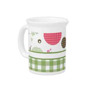 Trendy Cute Gingham And Polka Dots Drink Pitcher