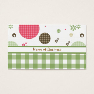 Trendy Cute Gingham Polka Dots With Name Business Card