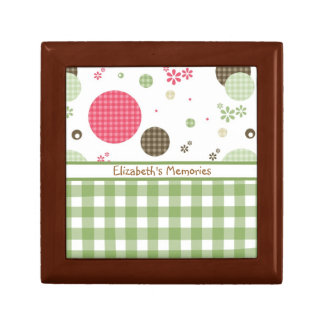 Trendy Cute Gingham Polka Dots With Name Gift Box