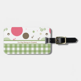 Trendy Cute Gingham Polka Dots With Name Tags For Bags